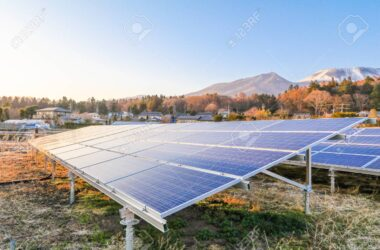 Solar power panels ,Photovoltaic modules for innovation green energy for life with blue sky background.