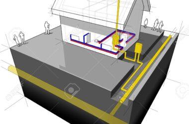 21999498-schema-di-una-casa-indipendente-con-riscaldamento-tradizionali-naturali-radiatori-caldaia-a-gas